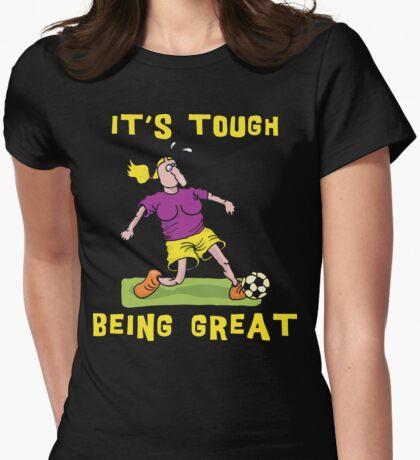 Funny Women Soccer Dark Womens Fitted T-Shirt