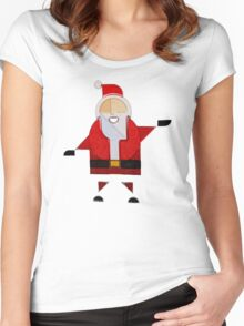 Santa Claus Noel Babbo Raw Women's Fitted Scoop T-Shirt