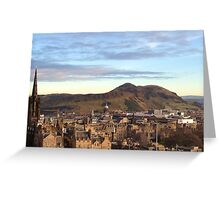 Edinburgh Castle Viewpoint.  Arthur's Seat and Salisbury Crags. Greeting Card