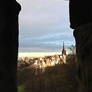 Edinburgh Castle viewpoint. Ramsay Gardens.  by LBMcNicoll