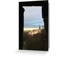 Edinburgh Castle viewpoint. Ramsay Gardens.  Greeting Card