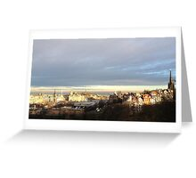 Edinburgh Castle viewpoint. Ramsay Gardens and the East End.  Greeting Card