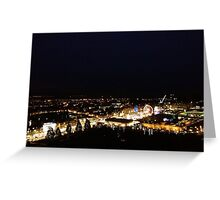 Edinburgh Castle viewpoint. Princes Street lights Greeting Card