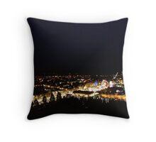 Edinburgh Castle viewpoint. Princes Street lights Throw Pillow