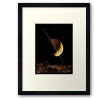 SATURN, Antique astronomy illustration, space, planet Framed Print