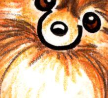 Red Pomeranian Paws Up Sticker