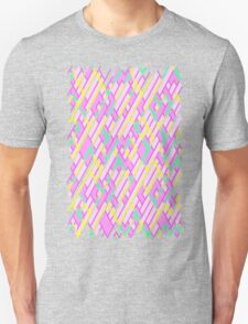 Geometric Lanes (Glam Pink/Yellow/Teal) Unisex T-Shirt