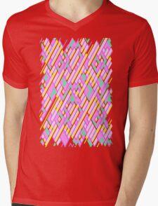 Geometric Lanes (Glam Pink/Yellow/Teal) Mens V-Neck T-Shirt