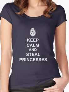 Keep Calm And Steal Princesses Bowser Women's Fitted Scoop T-Shirt