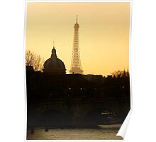 Paris sunset Eiffel Tower Poster