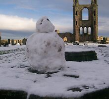 St Andrew's Cathedral and Snowman, St Andrews, Fife by Katherine Case