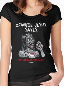 Zombie Jesus Saves... the EYES for Last! Women's Fitted Scoop T-Shirt