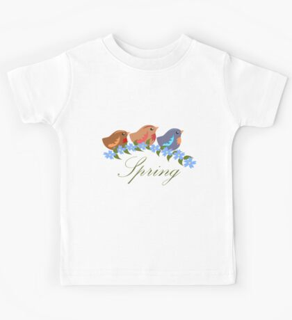 Three Baby Birds, Blue Flowers and Text Kids Tee