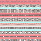 Peach Rose Baby Blue Aztec Pattern by RexLambo
