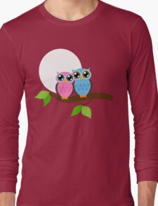 Pink and Blue Owls Long Sleeve T-Shirt