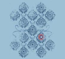 Captain America Damask - Blue by Meghan Stockham