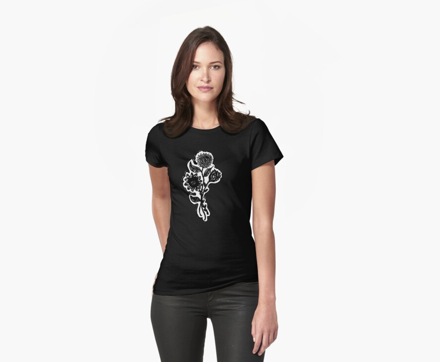 Dark Flower Tee Shirt by Red Gold