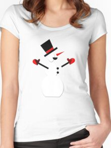 Snow Man in Holiday Women's Fitted Scoop T-Shirt