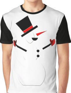 Snow Man in Holiday Graphic T-Shirt