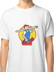 Plumber With Pipe Toolbox Cartoon Classic T-Shirt