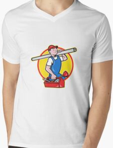 Plumber With Pipe Toolbox Cartoon Mens V-Neck T-Shirt