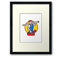 Plumber With Pipe Toolbox Cartoon Framed Print