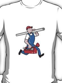 Plumber With Pipe Toolbox Cartoon T-Shirt