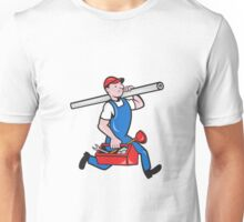 Plumber With Pipe Toolbox Cartoon Unisex T-Shirt