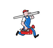 Plumber With Pipe Toolbox Cartoon Photographic Print