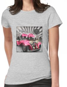 Retro car poster Womens Fitted T-Shirt
