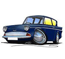 Ford Anglia 105e Dark Blue Photographic Print