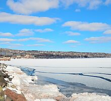 Blue Sky Over Lake Superior in February by markwestpfahl