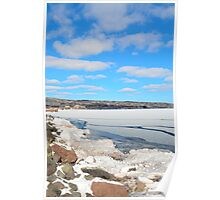 Blue Sky Over Lake Superior in February Poster