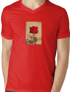 For My Love Vintage Valentine Greeting With Red Rose Mens V-Neck T-Shirt