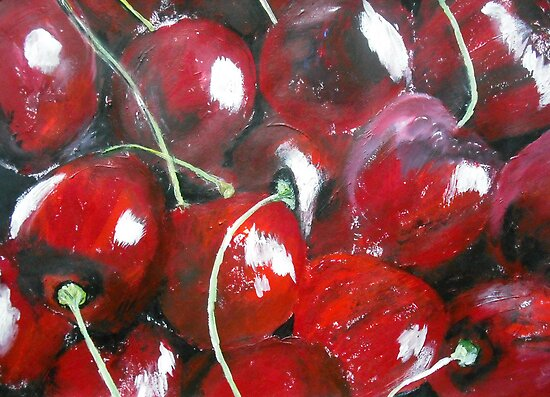 Cherries Fine Art Still Life Fruit In Acrylics by RedCoatStudio