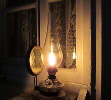 Old gas petroleum lamp in dark  by Sasko97