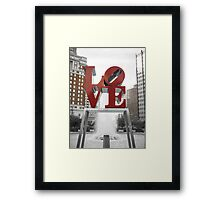 Red Love Park Sign Philadelphia Street Photography Framed Print