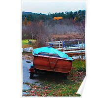 Red Boat Blue Waters Poster