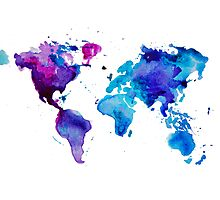Watercolor Map of the World Photographic Print