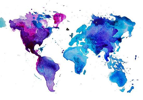 Watercolor Map of the World by Anastasiia Kucherenko