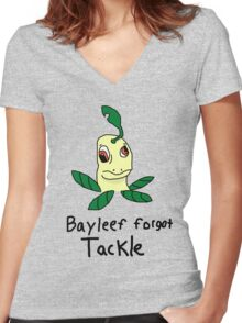 bayleef forgot how to tackle. Women's Fitted V-Neck T-Shirt
