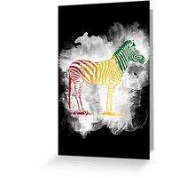 Red Green and Yellow Rasta Zebra Greeting Card