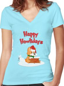 Happy Howlidays - Green w/ Text Women's Fitted V-Neck T-Shirt