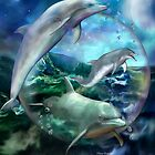 Three Dolphins by Carol  Cavalaris