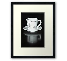Mocha Coffee Cup Fine Art Black and White Photography Framed Print