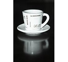 Mocha Coffee Cup Fine Art Black and White Photography Photographic Print