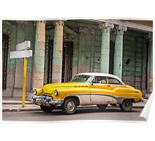 Yellow classic American car. Poster