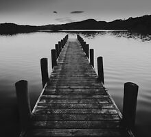 Lake District Jetty in B&W by James Farley