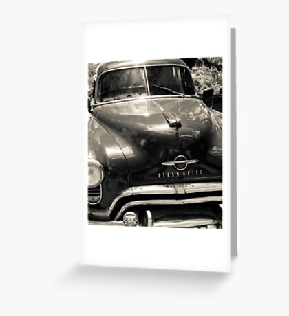 Classic American Oldsmobile car in black and white. Greeting Card