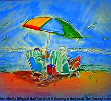 AnOther OReilly ORiginal Painting Half Pint & Mr Ounder unbrella  Reading  the Journey to be Real at the Malibu beach by Timothy C O'Reilly